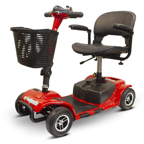 EWheels EW-M34 Portable 4 Wheel Travel Mobility Scooter In Red With Folding Armrests And Large Front Basket