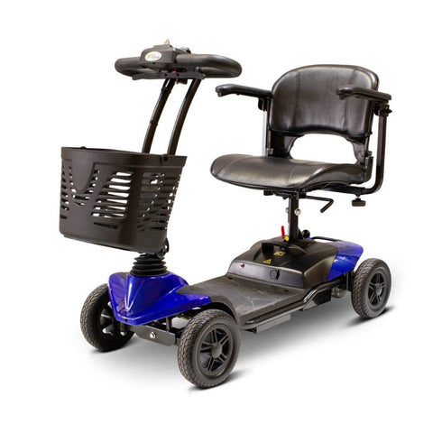 Image of EWheels EW-M35 4-Wheel Travel Mobility Scooter In Blue With Battery Box Under Seat