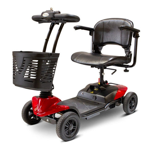 Image of EWheels EW-M35 4-Wheel Travel Mobility Scooter With Large Front Basket Attached To Tiller