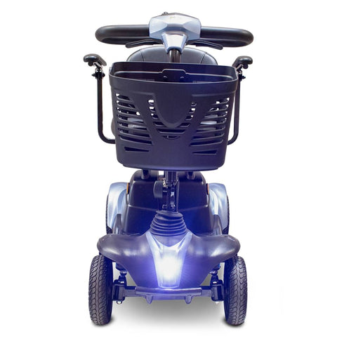 Image of EWheels EW-M39 4 Wheel Portable Mobility Scooter With Front Light Turned On And Front Basket Shown