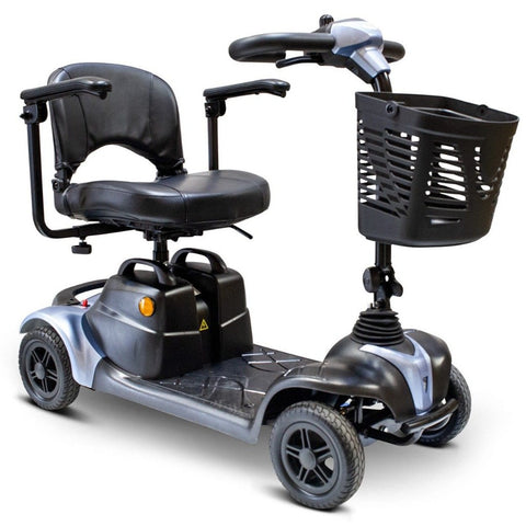 Image of EWheels EW-M39 4 Wheel Portable Mobility Scooter In Flue With Battery Under Seat And Caution Light On Side Of Battery Box