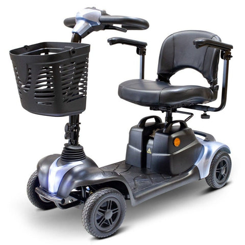 Image of EWheels EW-M39 4 Wheel Portable Mobility Scooter In Blue With Large Front Basket