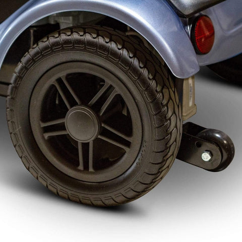 Image of EWheels EW-M39 4 Wheel Portable Mobility Scooter Rear Tire With Anti-Tip Wheel To the Rear With Brake Light Above