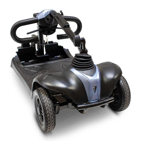 Image of EWheels EW-M39 4 Wheel Portable Mobility Scooter Front Half With Rear Drive And Seat Removed With Tiller Folded Back For Easy Travel