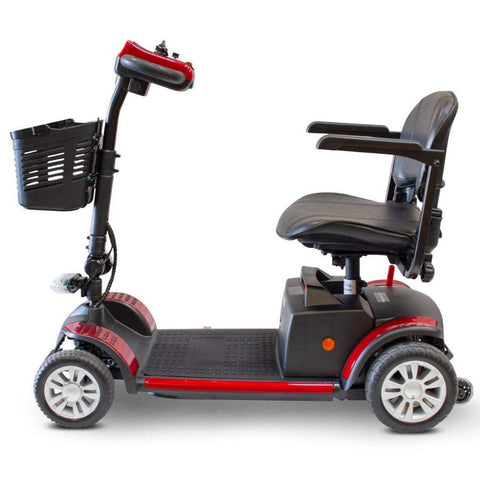 Image of EWheels EW-M50 Extended Range Travel Scooter 4 Wheels Left Side View With Anti-Tip Wheels Behind Rear Tires