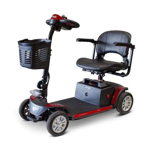 Image of EWheels EW-M50 Extended Range Travel Scooter 4 Wheels With Front Basket And Front Light Near Base Of Tiller