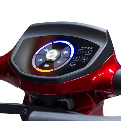 EWheels EW-REMO Auto-Fold 4-Wheel Travel Scooter Control Panel With Speed Controls, Horn, Battery Indicator, And Light Switch