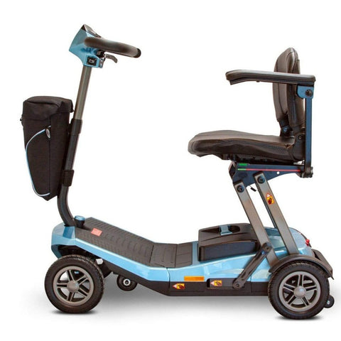 EWheels EW-REMO Auto-Fold 4-Wheel Travel Scooter In Blue Left Side View