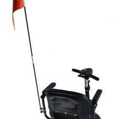 Image of EWheels Folding Safety Flag with Mounting Hardware Attached To Mobility Scooter Left Side Armrest