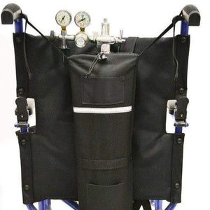 EWheels Wheelchair Oxygen Tank and Holder Attached To Manual Wheelchair