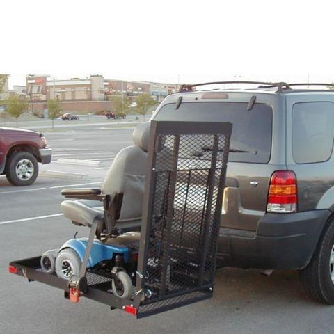 EZ Carrier Manual Carrier Fold-Up Model 2 EZC-2 Attached To Vehicle Hitch With Power Chair Loaded