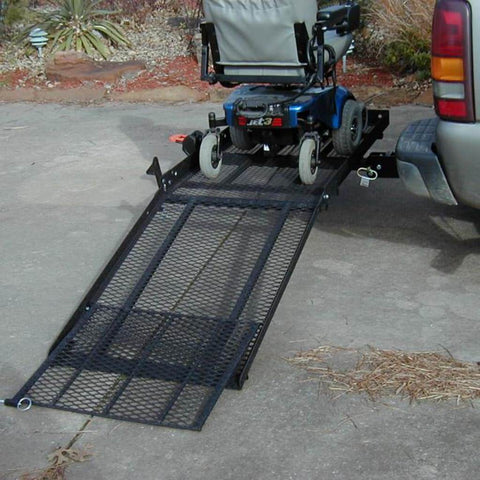 EZ Carrier Manual Carrier Fold-Up Model 2 EZC-2 With Power Chair Strapped Down And Ramp Extended