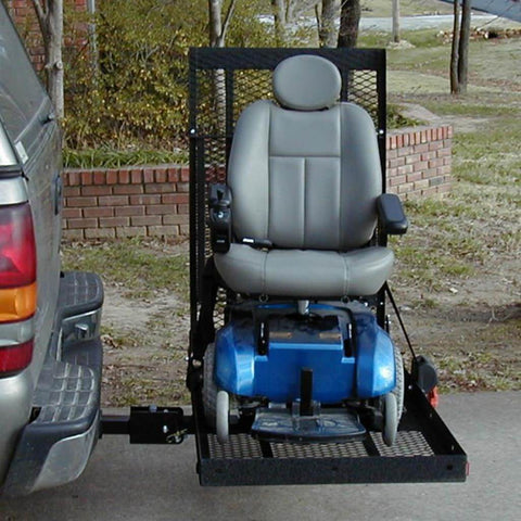 EZ Carrier Manual Carrier Fold-Up Model 2 EZC-2 Attached To Vehicle Hitch With Power Chair Strapped Down
