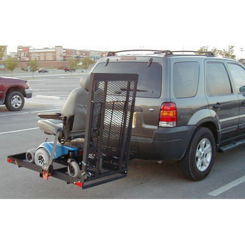 Image of EZ Carrier Manual Carrier Height-Adjustable Model 3 EZC-3 Attached To Vehicle With Blue Power Chair Strapped Down