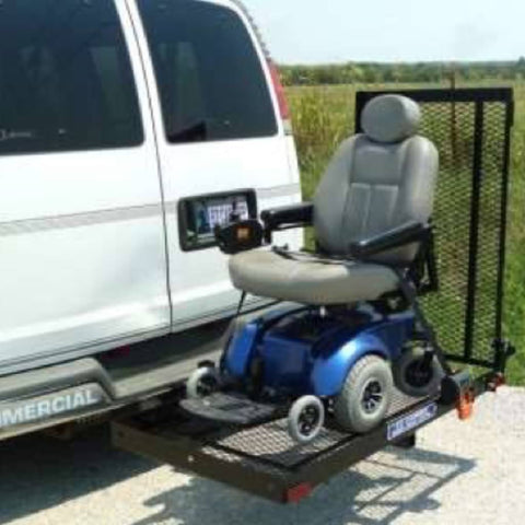 Image of EZ Carrier Manual Carrier Height-Adjustable Model 3 EZC-3 Attached To White Van With Power Chair Being Transported