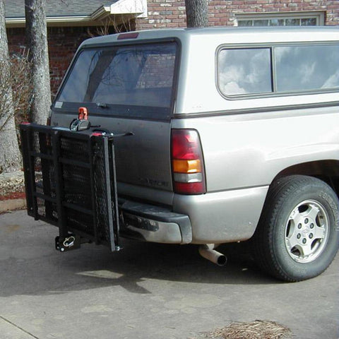 Image of EZ Carrier Manual Carrier Height-Adjustable Model 3 EZC-3 Attached To Vehicle Folded Up Without Cargo