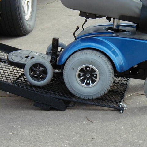 Image of EZ Carrier Manual Carrier Height-Adjustable Model 3 EZC-3 Ramp With Scooter Being Loaded