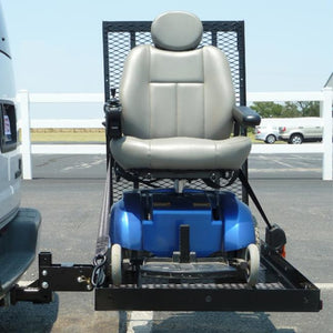 EZ Carrier Manual Carrier Height-Adjustable Model 3 EZC-3 With Ramp Raised And Blue Power Chair Loaded