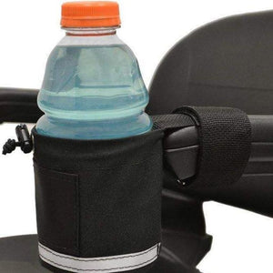 EWheels Cup Holder Attached With Velcro Strap To Power Chair Armrest With Blue Gatorade Bottle Inside