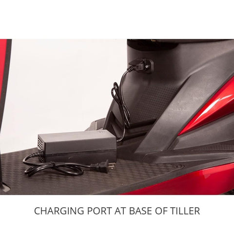 EWheels EW-10 Sport 3-Wheel Scooter Charging Port At Base Of Tiller