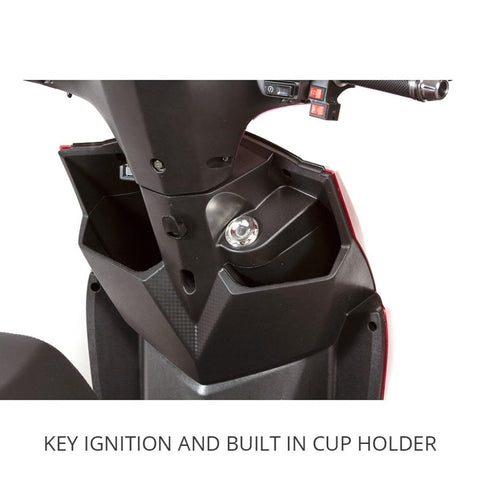 EWheels EW-10 Sport 3-Wheel Scooter Key Ignition Port And Built In Cup Holder