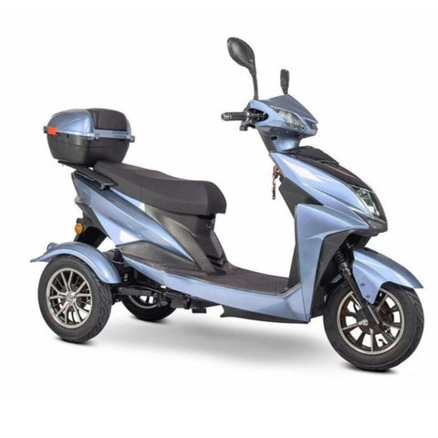 EWheels EW-10 Sport 3-Wheel Scooter In Blue With Rearview Mirrors