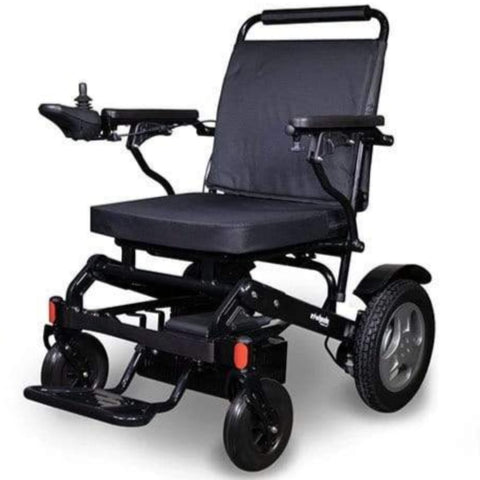 Image of EWheels EW-M45 Folding Power Wheelchair With Black Color Details And Joystick Mounted On Right Armrest