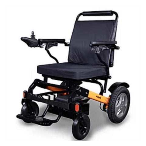 Image of EWheels EW-M45 Folding Power Wheelchair With Orange Colored Details