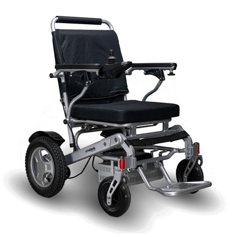 Image of EWheels EW-M45 Folding Power Wheelchair With Silver Colored Details And Large Rear Tire