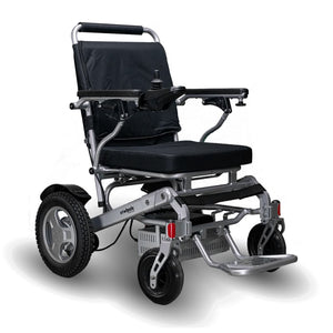 EWheels EW-M45 Folding Power Wheelchair With Silver Colored Details And Large Rear Tire