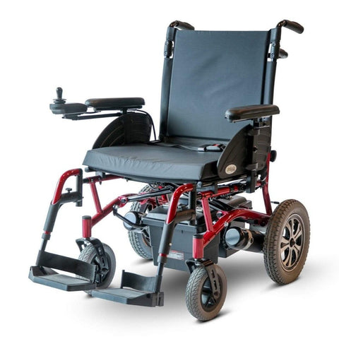 Image of EWheels EW-M47 Folding Power Wheelchair With Joystick Attached To Right Side Armrest