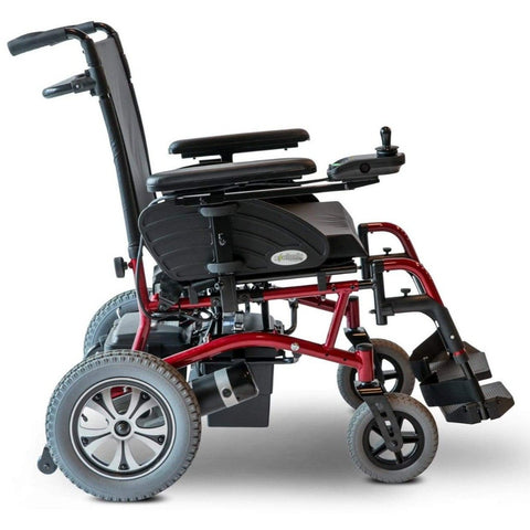 Image of EWheels EW-M47 Folding Power Wheelchair Right Side View With Battery Shown Under Seat