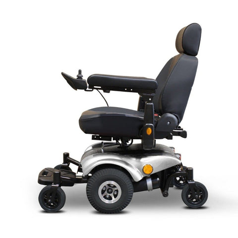EWheels EW-M48 Power Wheelchair With Anti Tip Tires On Front And Back Of Wheelchair