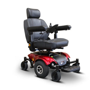EWheels EW-M48 Power Wheelchair With Large Headrest And Safety Lights Near Base Of Armrest And Behind Main Drive Wheels