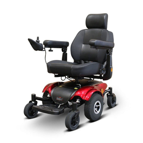 Image of EWheels EW-M48 Power Wheelchair With Thick Captain's Seat And Joystick Mounted On Right Side Armrest