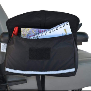 EWheels Standard Size Armrest Saddle Bag Attached To Power Chair Armrest With Notebook And Pen Inside