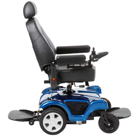 Image of Merits Health Dualer Powerchair P312 With Front And Rear Footrests Shown And Captain's Seat Facing Forward
