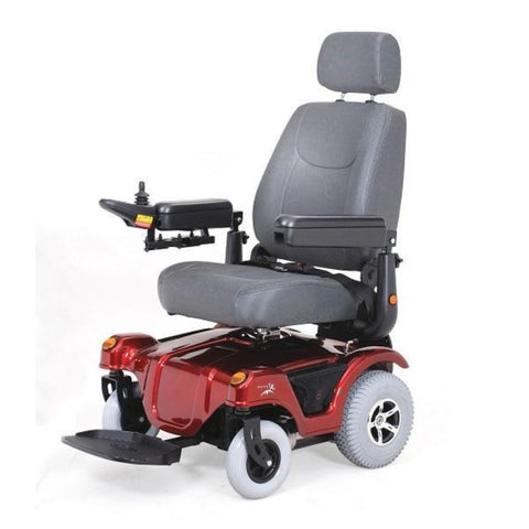 Image of Merits Health Dualer Powerchair P312 In Red With Captain's Seat Facing Forward