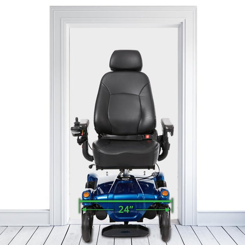 "Image of Merits Health Dualer Powerchair P312 With 24"" Width Dimensions Shown Between A Standard Sized Doorway"