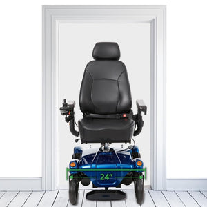 "Merits Health Dualer Powerchair P312 With 24"" Width Dimensions Shown Between A Standard Sized Doorway"