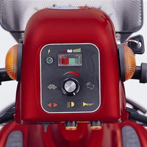 Image of Merits Health Pioneer 10 S341 DLX Bariatric 4-Wheel Mobility Scooter Control Panel With Speed And Battery Indicators With Key In Ignition