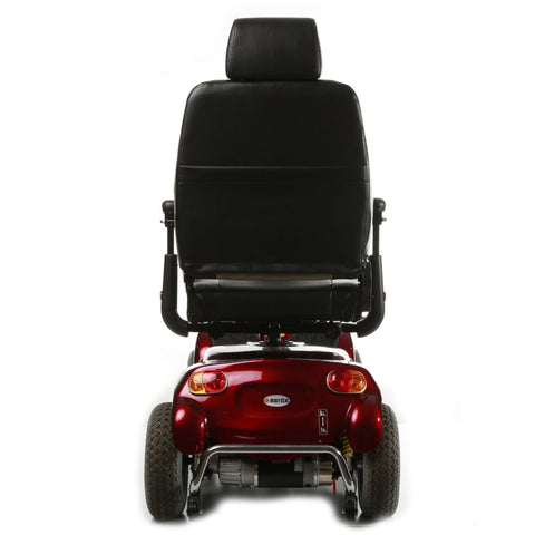 Image of Merits Health Pioneer 10 S341 DLX Bariatric 4-Wheel Mobility Scooter Rear View Of Brake Lights And Small Safety Wheels Behind Large Rubber Tires