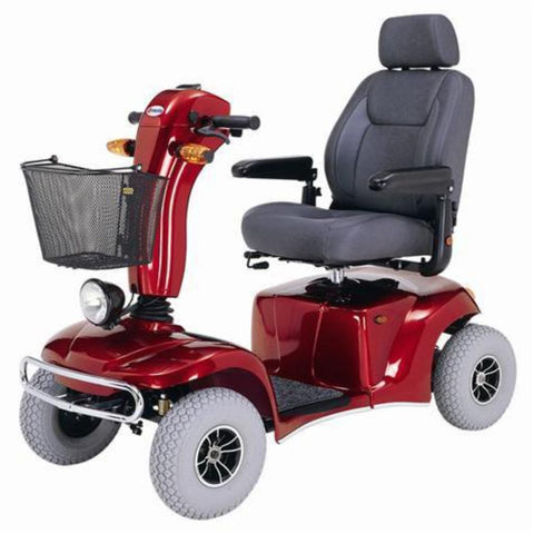 Image of Merits Health Pioneer 10 S341 DLX Bariatric 4-Wheel Mobility Scooter With Thick Gray Tires, Front Basket, Turn Signals, And Large Captain's Seat