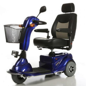 Merits Health Blue Pioneer 3 S131 3-Wheel Electric Mobility Scooter With Folding Armrests And Single Rearview Mirror