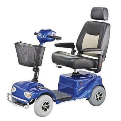 Image of Merits Health Blue Pioneer 4 S141 4-Wheel Mobility Scooter With Thick Cushioned Captain's Seat And Thick Gray Tires