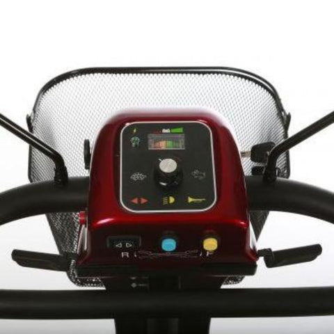 Image of Merits Health Red Pioneer 4 S141 4-Wheel Mobility Scooter Control Panel and Front Basket