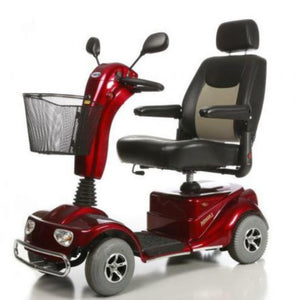 Merits Health Red Pioneer 4 S141 4-Wheel Mobility Scooter With Thick Cushioned Captain's Seat And Rear View Mirrors