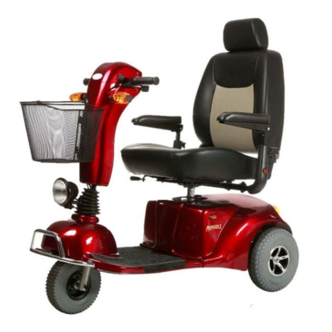 Merits Health Pioneer 9 S331 DLX Red Bariatric 3-Wheel Mobility Scooter With Thick Gray Rubber Tires And Large Captain's Seat With Folding Armrests