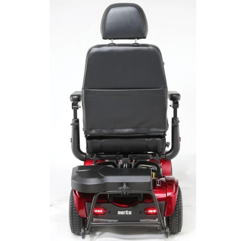 Image of Merits Health Pioneer Fleet 4 S746 Heavy Duty Mobility Scooter Rear View of Brake Lights and Thick Headrest Attached