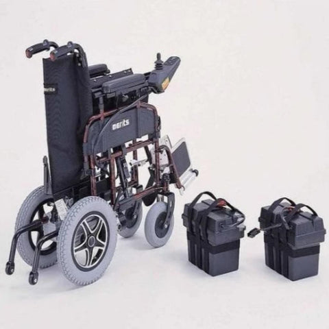 Image of Merits Health Travel-Ease Folding Power Chair P101 Folded With Batteries Removed For Easy Transport
